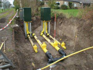 Plaatsen Hoge druk gaskasten en de bijbehorende aansluitingen